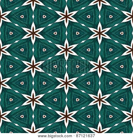 Abstract Green Texture Or Background With Red Stars With Christmas Look Made Seamless