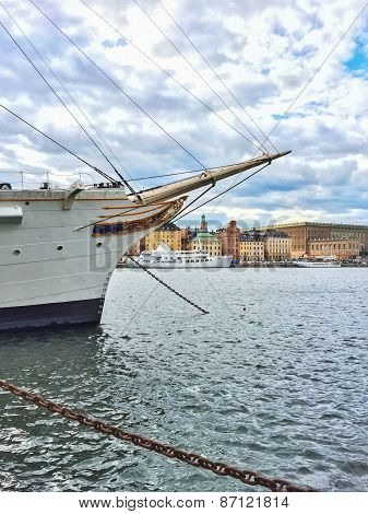 White Ship And View Over Historic Gamla Stan In Stockholm