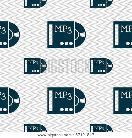 Mp3 Player Icon Sign. Seamless Pattern With Geometric Texture. Vector
