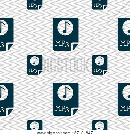Audio, Mp3 File Icon Sign. Seamless Pattern With Geometric Texture. Vector