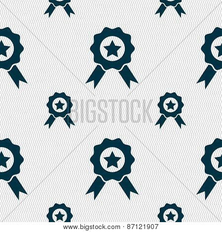 Award, Medal Of Honor Icon Sign. Seamless Pattern With Geometric Texture. Vector