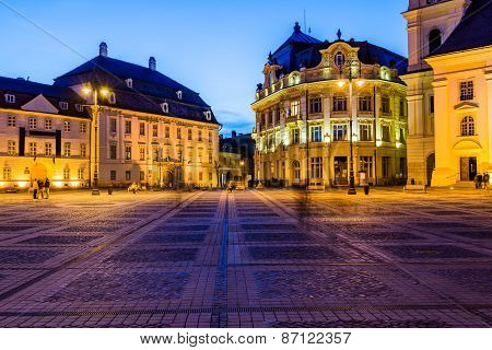City Hall And Brukenthal Palace In Sibiu