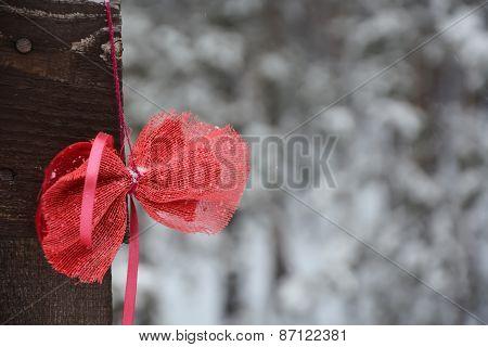 Bow On The Fence. Closeup View, Winter Season