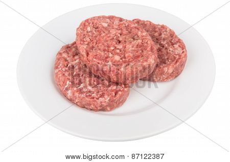 Plate With Raw Meatballs Of Ground Beef