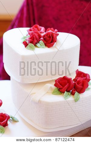 Beautiful Wedding Cake In Different Colors With Two Different Levels.