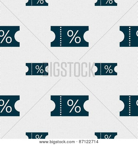 Ticket Discount Icon Sign. Seamless Pattern With Geometric Texture. Vector