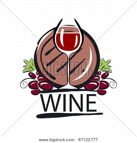 Vector Icon Red Wine Barrel And The Vine