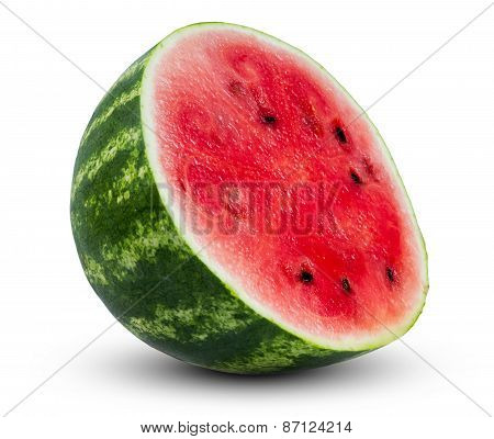fresh juicy green watermelon sliced isolated on white background