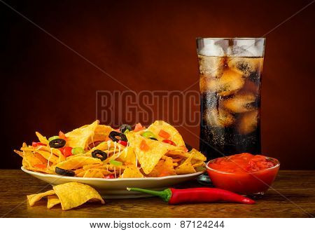 Nachos, Salsa Dip And Cola Drink