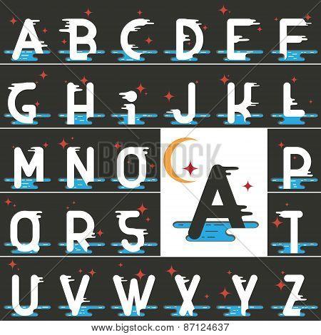 Vector Latin Alphabet Made Of Flat Cartoon Style
