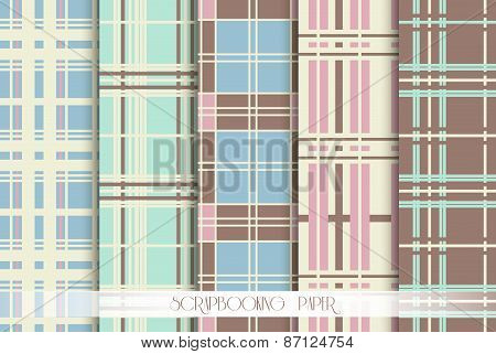 5 Pattern papers for scrapbook . Blue, pink, green and brown shabby color. Endless texture can be us