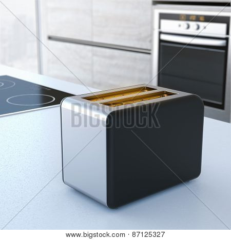 Chrome toaster on the table. 3d rendering