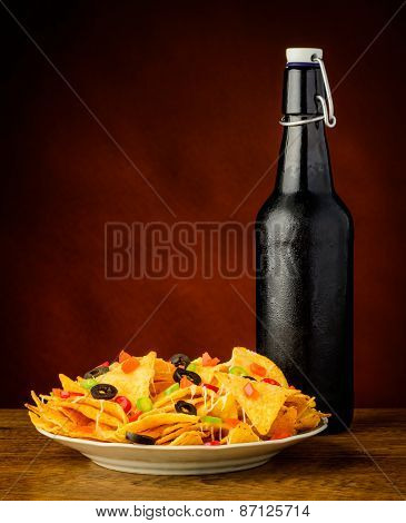 Tortilla Chips And Beer Bottle