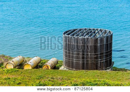 Old Wooden Water Container Tank By Pacific Ocean