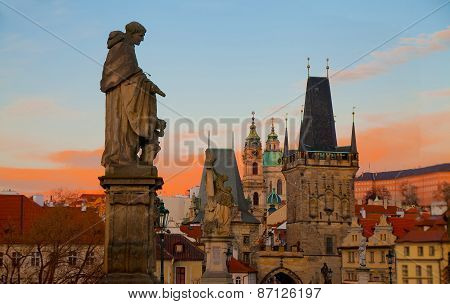 Dramatic Sunrise View Of The Towers Of Mala Strana From Charles Bridge
