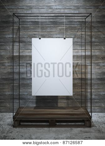 White poster hanging. 3d rendering