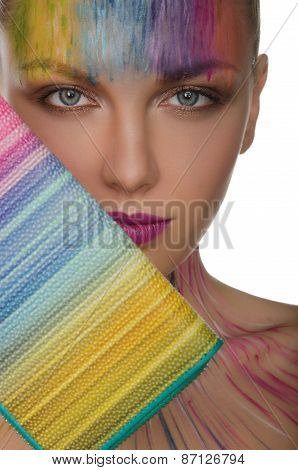 European Women With Colorful Purse And Face Art