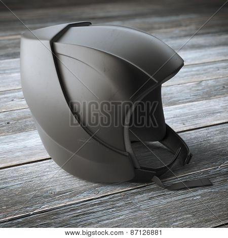 Modern black helmet on wooden table