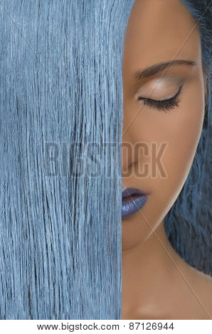 Young Woman With Straight Blue Hair, Closed Eyes