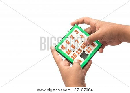 Hand Holding Number Slider Puzzle
