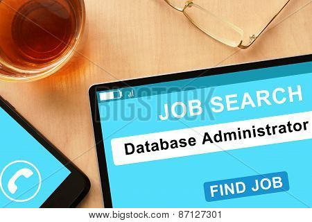 Tablet with Database Administrator on  job search site.
