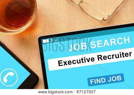 Tablet with Executive Recruiter on  job search site.