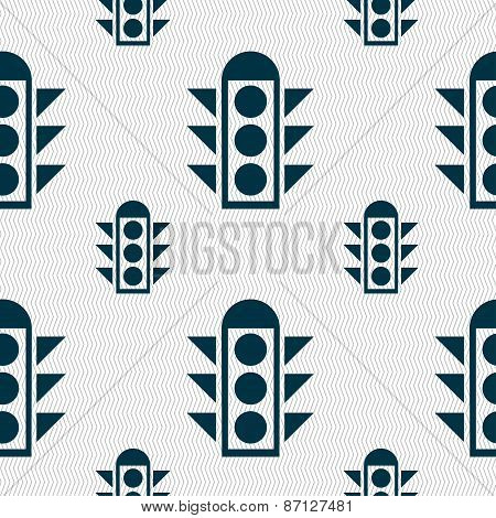 Traffic Light Signal Icon Sign. Seamless Pattern With Geometric Texture. Vector