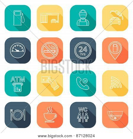 Line Gas Station Icons. Service Fuel Glyph Icons. Flat Design. Vector