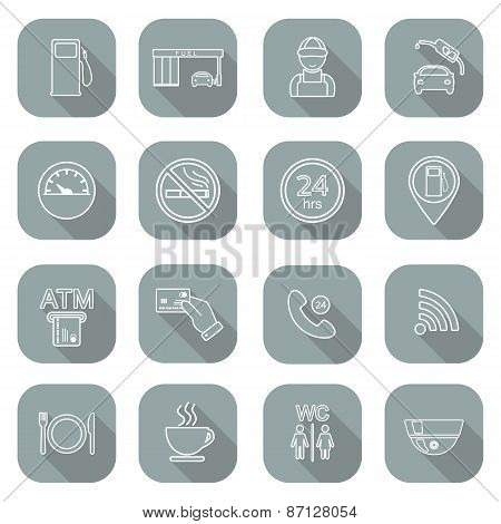 Line Gas Station Icons. Service Fuel Glyph Icons. Flat Design. Shadow. Vector