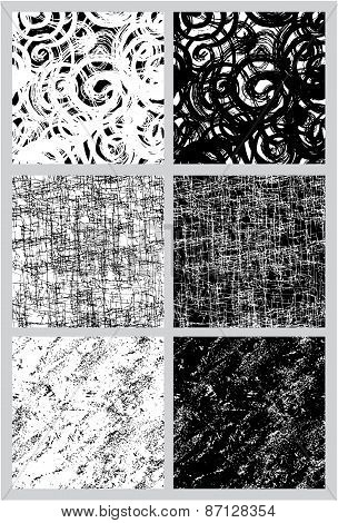 Set Of 6 Seamless Black And White Patterns In Grunge Style.