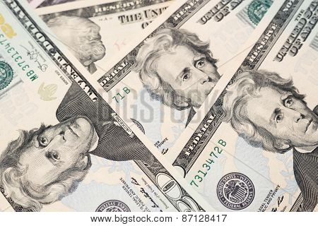 Twenty dollars banknotes background