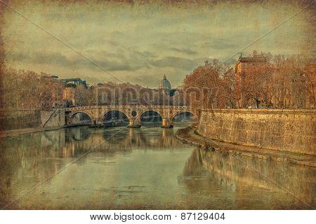 Ponte Sisto And Basilica San Pietro In Rome, Italy. Grunge And Retro Style.
