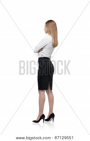 Rear View Of The Businesswoman. Isolated