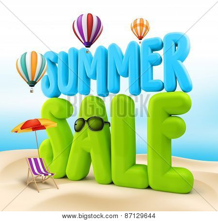 3D Rendered Summer Sale Text Title for Promotion