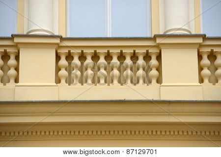 Facade Detail Of Old Building Of Renaissance Revival Style, Prague.