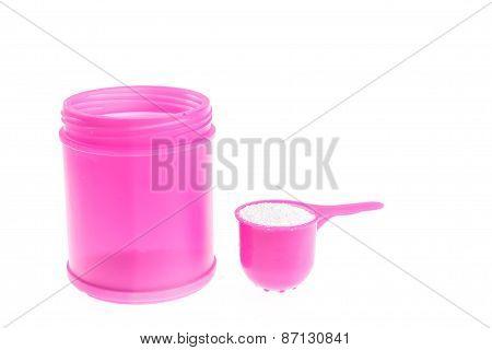 Pink Plastic Bottle Of Detergent