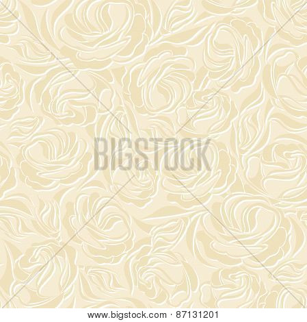 Floral vintage seamless beige pattern. Vector illustration.