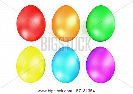 Multi Colored Easter Eggs In Row