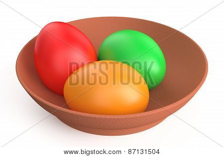 Colored Easter Eggs On Clay Plate