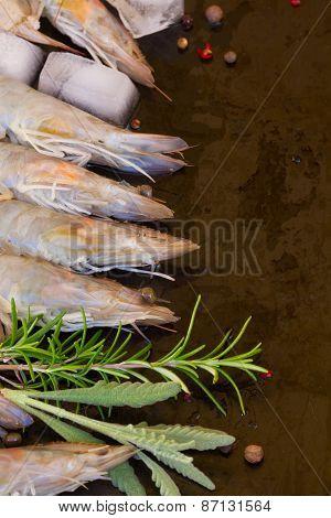 border of raw prawns
