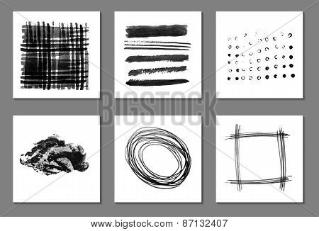 Vector Set Of Cards With Black Brush Strokes.