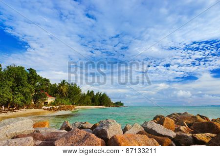 Hotel at tropical beach Praslin - Seychelles - vacation background