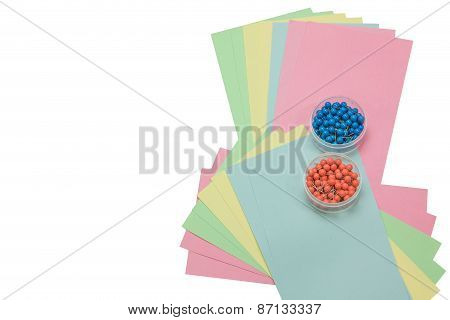 Colored Papers And Pins Isolated