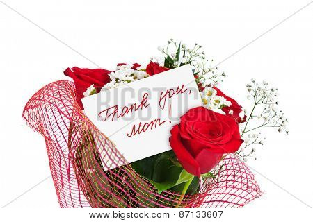 Roses bouquet and card for Mother isolated on white background
