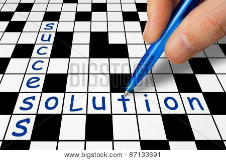 Hand filling in crossword - Success and Solution