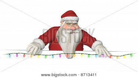 Santa Hangs Lights Across A Border