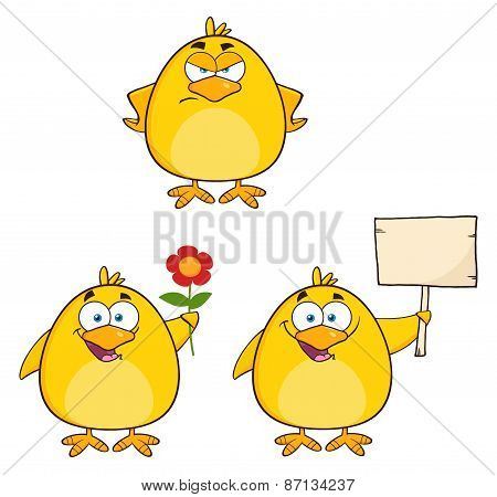 Funny Yellow Chick Cartoon Character Different Poses 4. Collection Set
