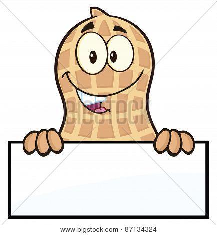 Peanut Cartoon Character Over A Sign