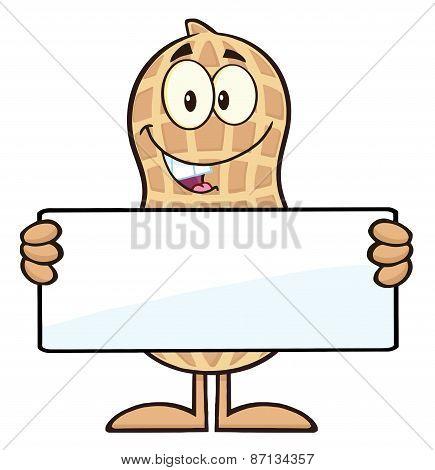 Peanut Cartoon Character Holding a Blank Sign