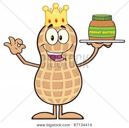 King Peanut Cartoon Character Holding A Jar Of Peanut Butter